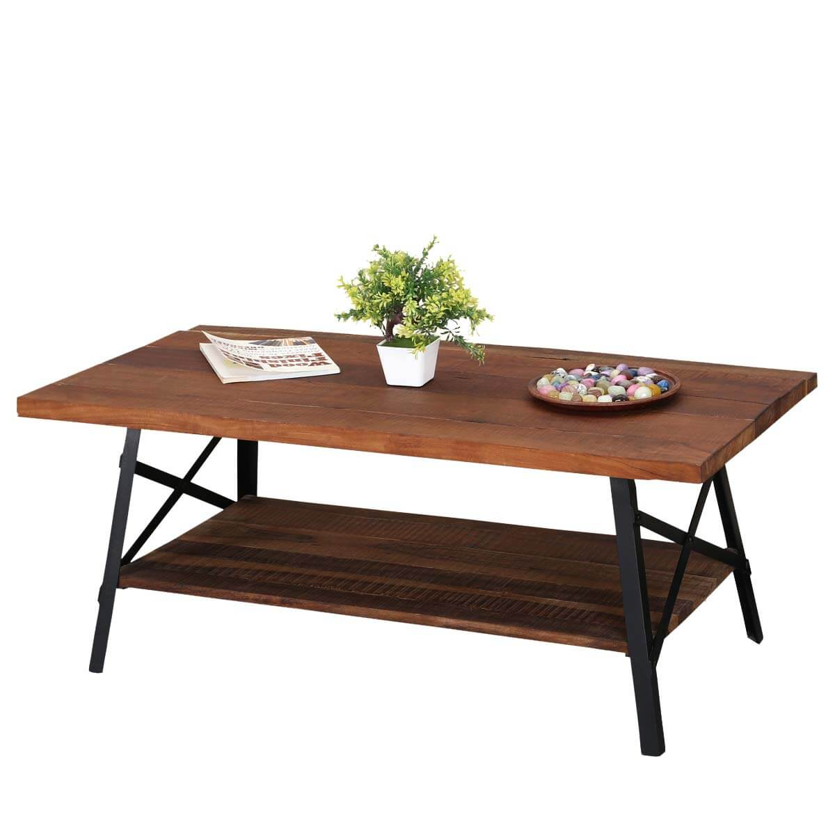 Industrial Simplicity Reclaimed Wood Iron 2 Tier Coffee Table