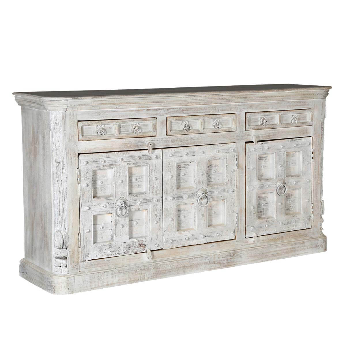 Distressed Wood Buffet ~ Palazzo distressed light grey solid wood drawer
