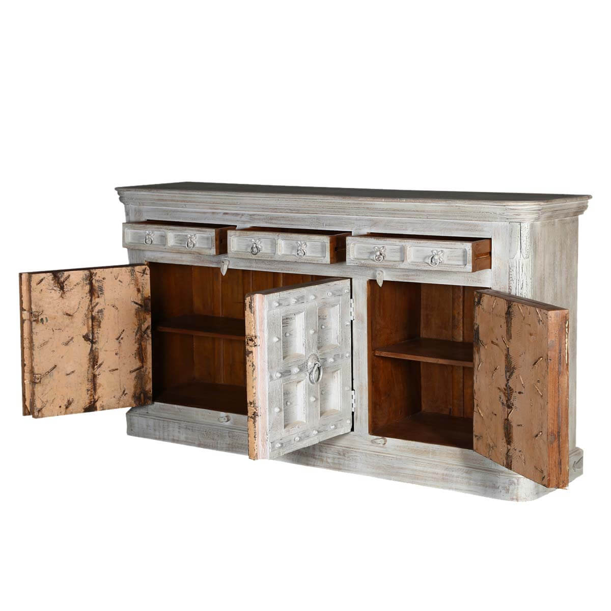 Unfinished Wood Sideboard ~ Palazzo rustic solid wood drawer large sideboard cabinet