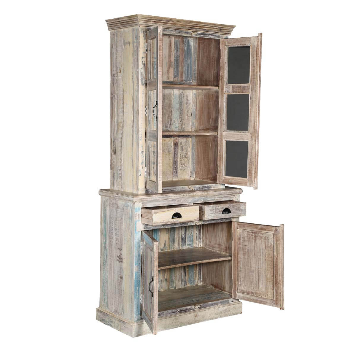 Palazzo white rustic solid wood dining china cabinet