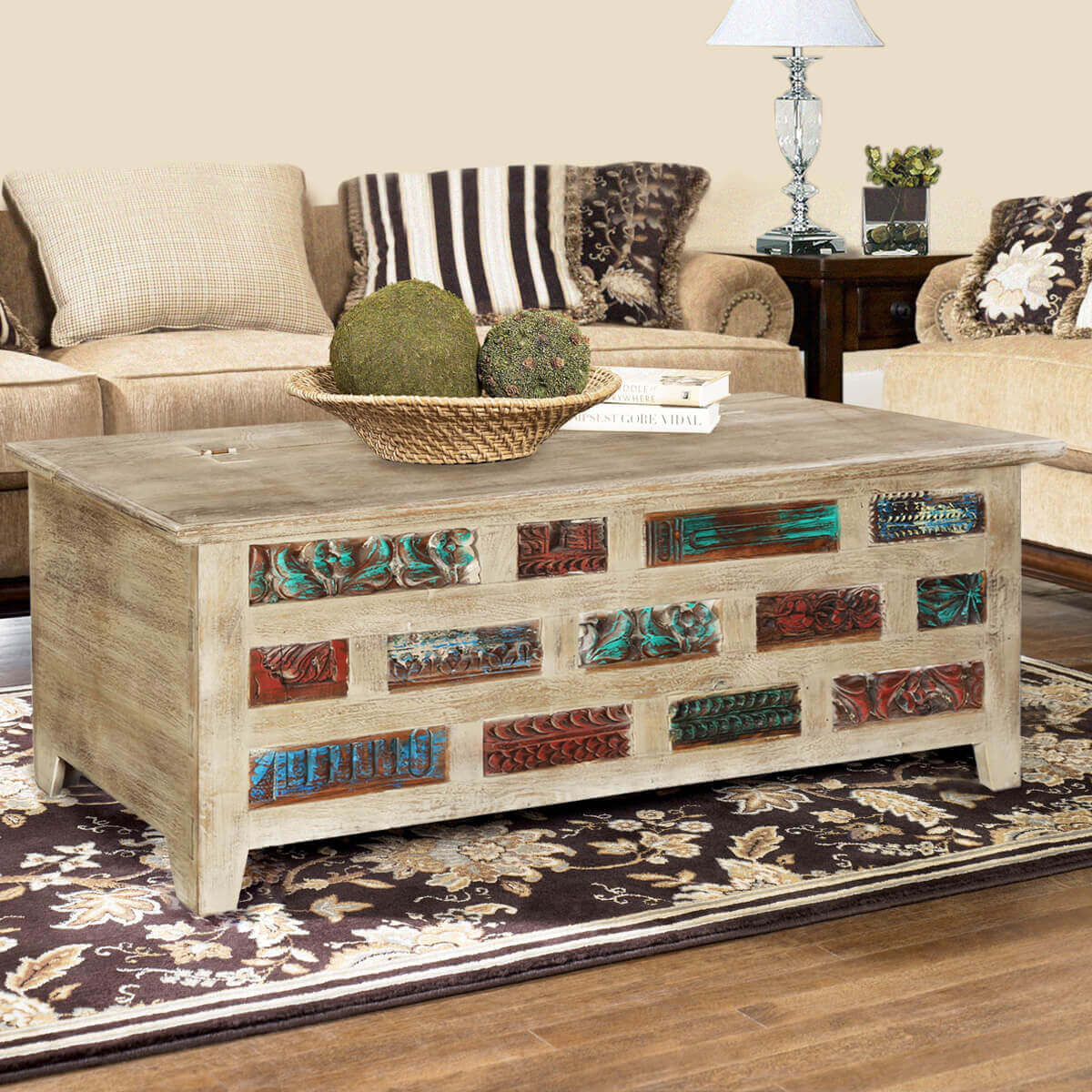 living room trunk table impressionist brick wall mango amp reclaimed wood coffee 15691