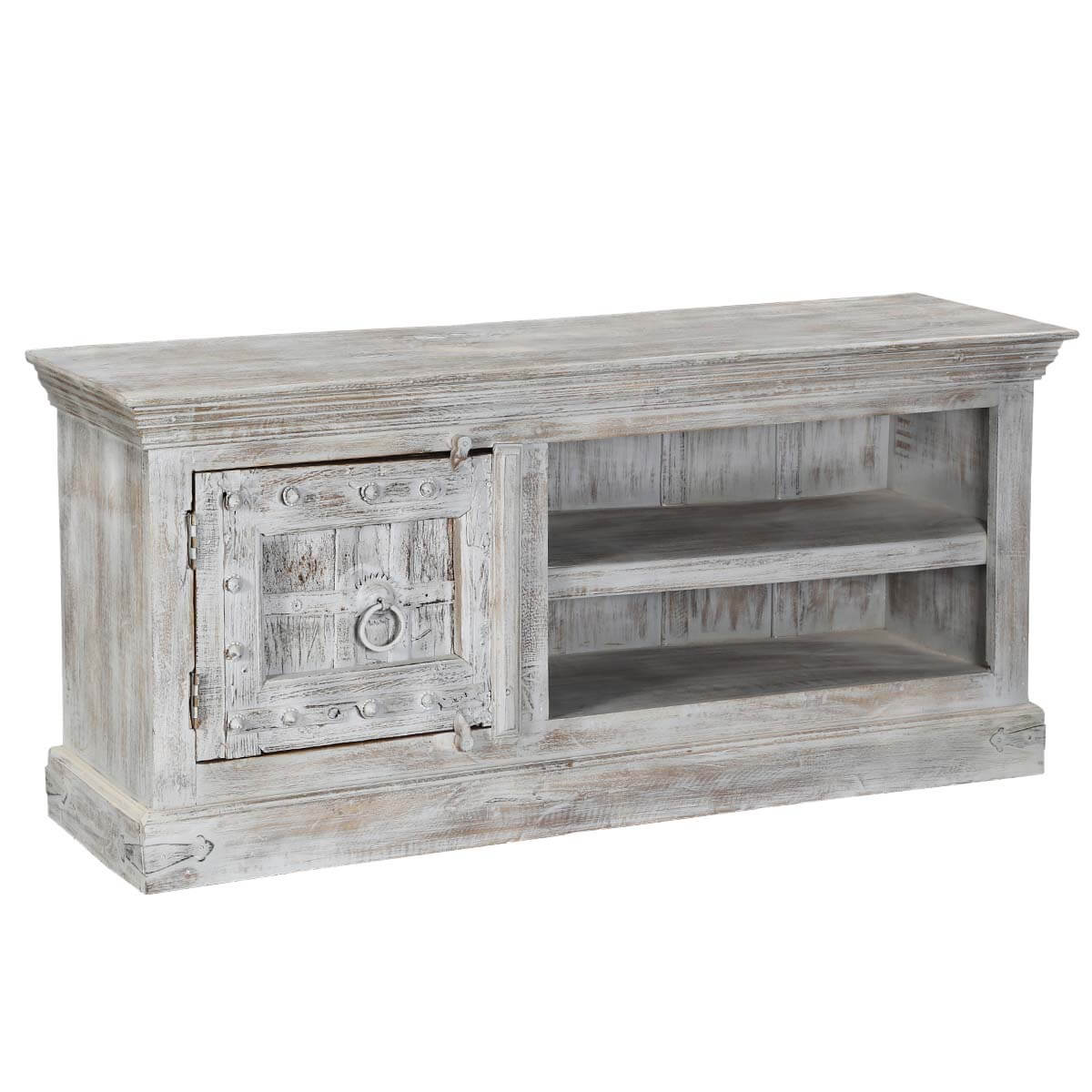 Palazzo 59 Rustic Handcrafted Solid Wood Media Storage Console