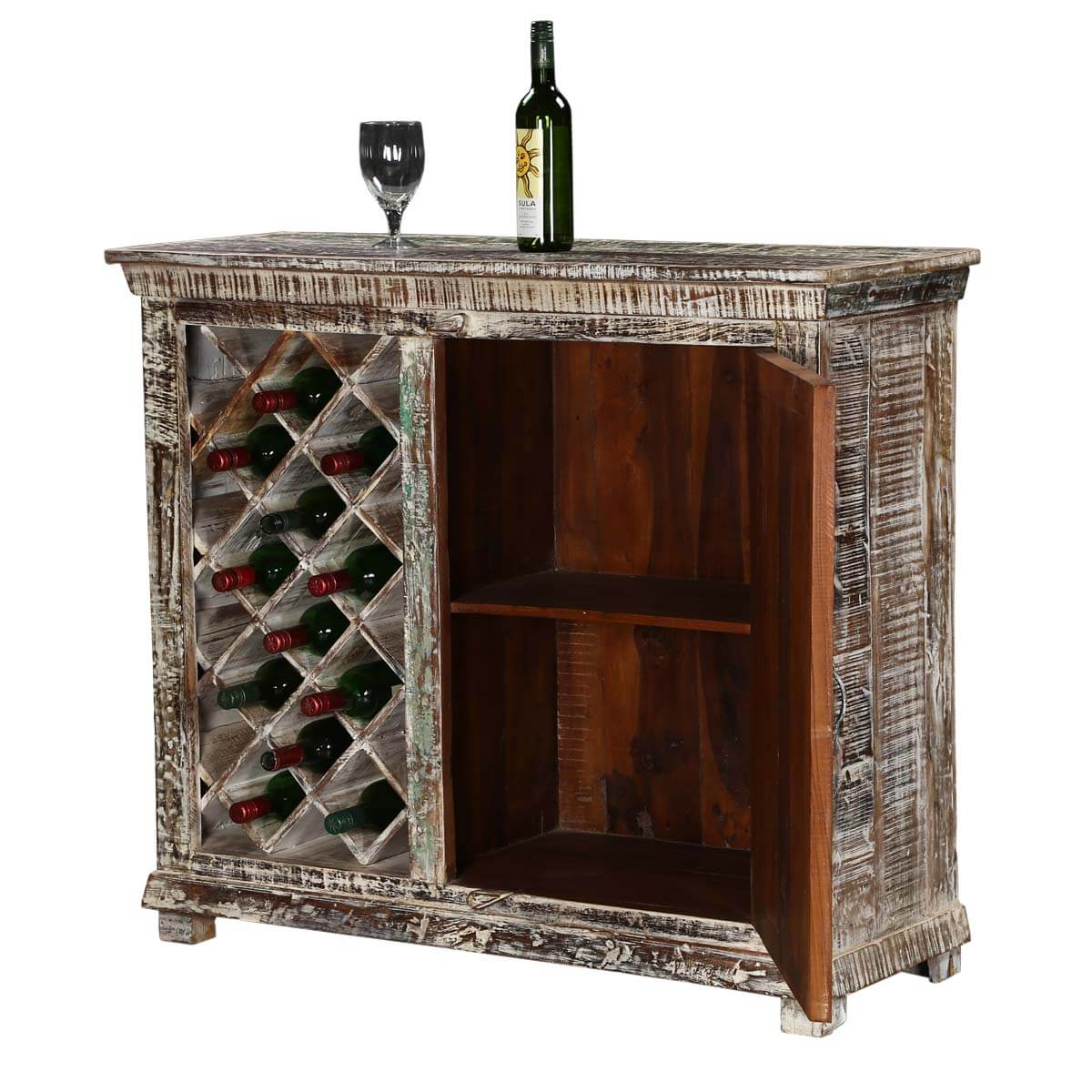 Chartres Distressed Solid Wood Rustic Bar Cabinet With