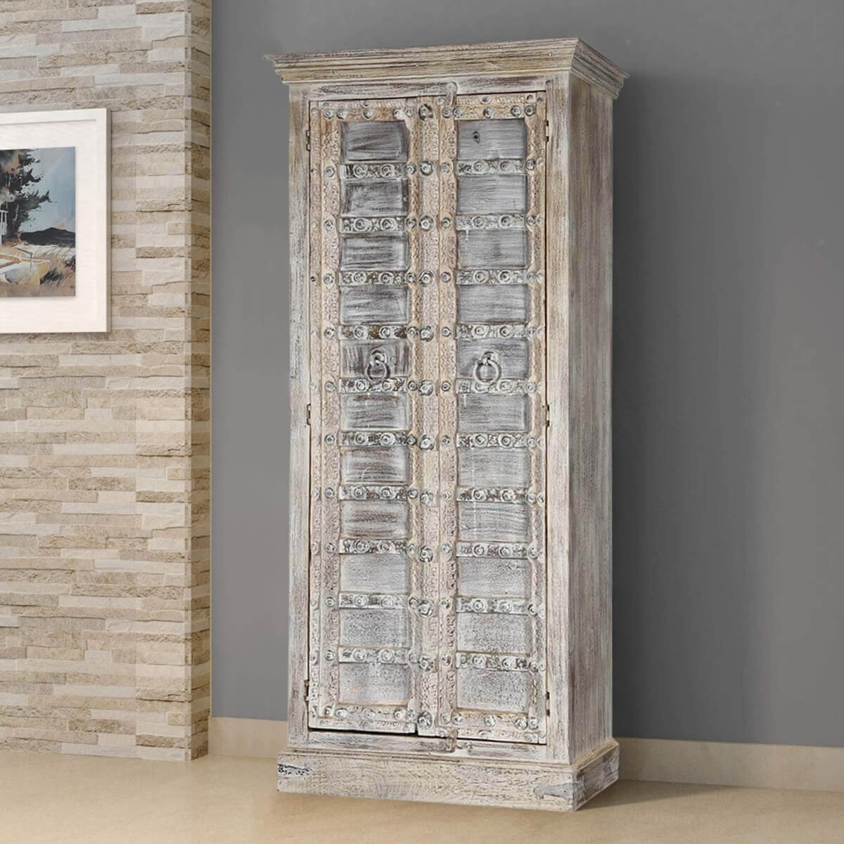 Palazzo 75 Light Grey Solid Wood 2 Door Armoire