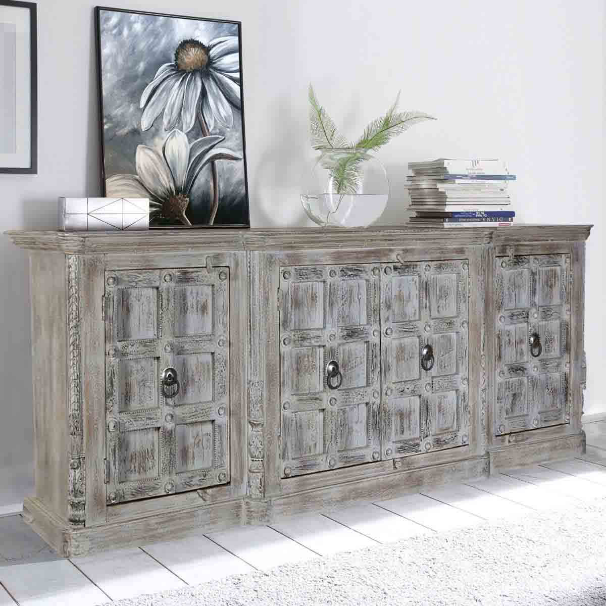 Palazzo Distressed Handcrafted 4 Door Large Rustic Buffet Cabinet