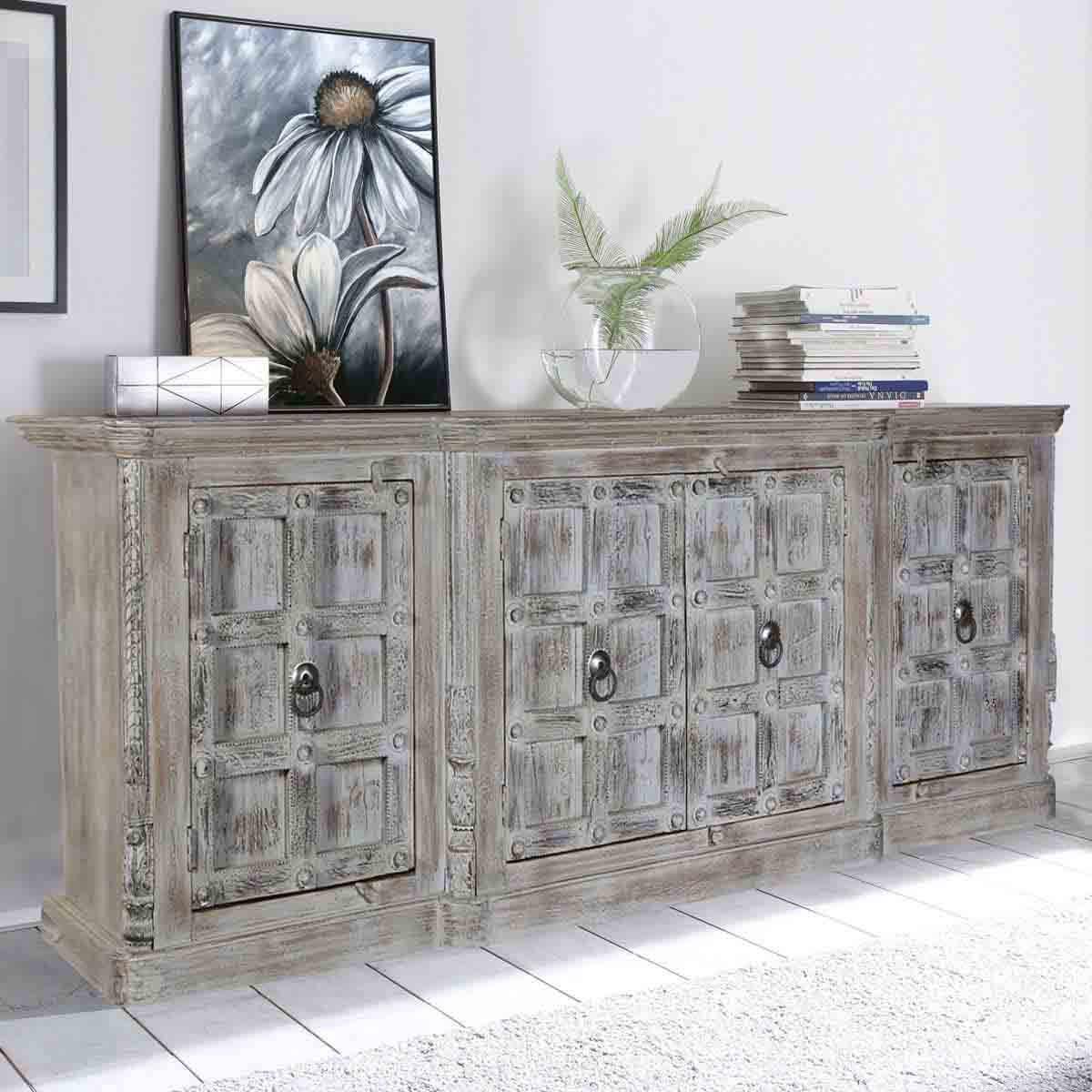 Palazzo Light Grey Handcrafted 19 Door Rustic Buffet Cabinet