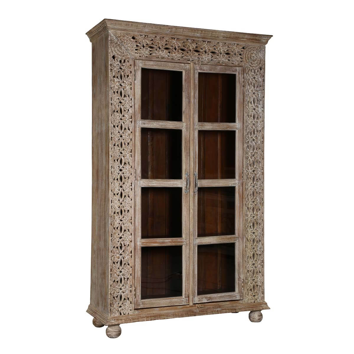 Handcrafted 88 Rustic Solid Wood Glass Door Armoire