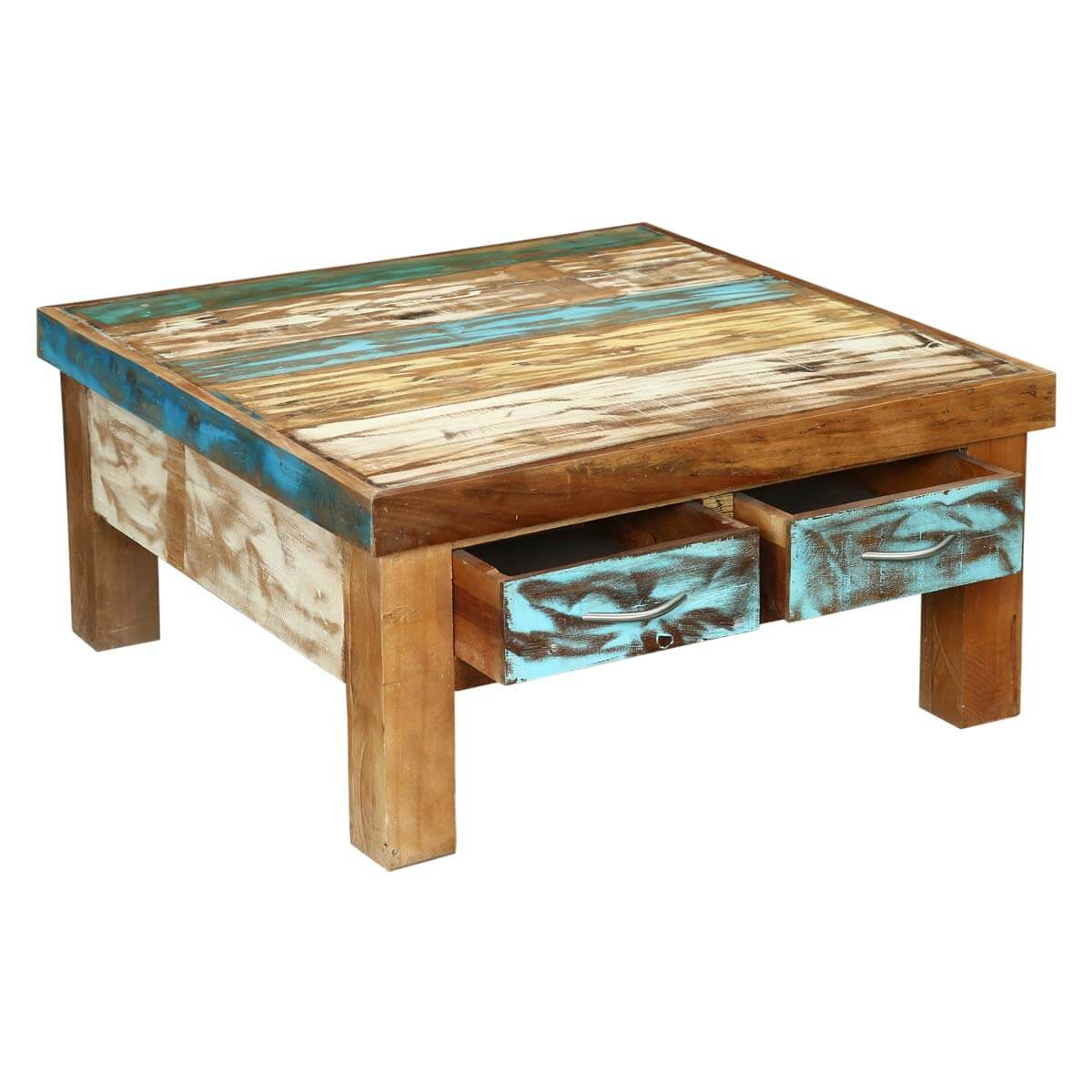 Rustic reclaimed wood 4 drawer coffee table seoul rustic reclaimed wood 4 drawer coffee table geotapseo Image collections