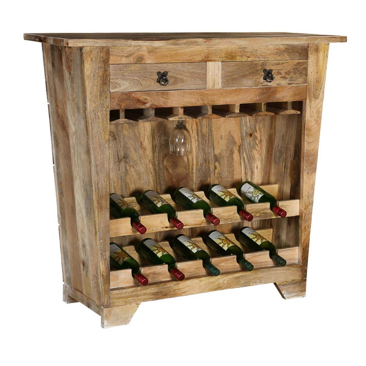 Modern Farmhouse Mango Wood Rustic Wine Rack Console