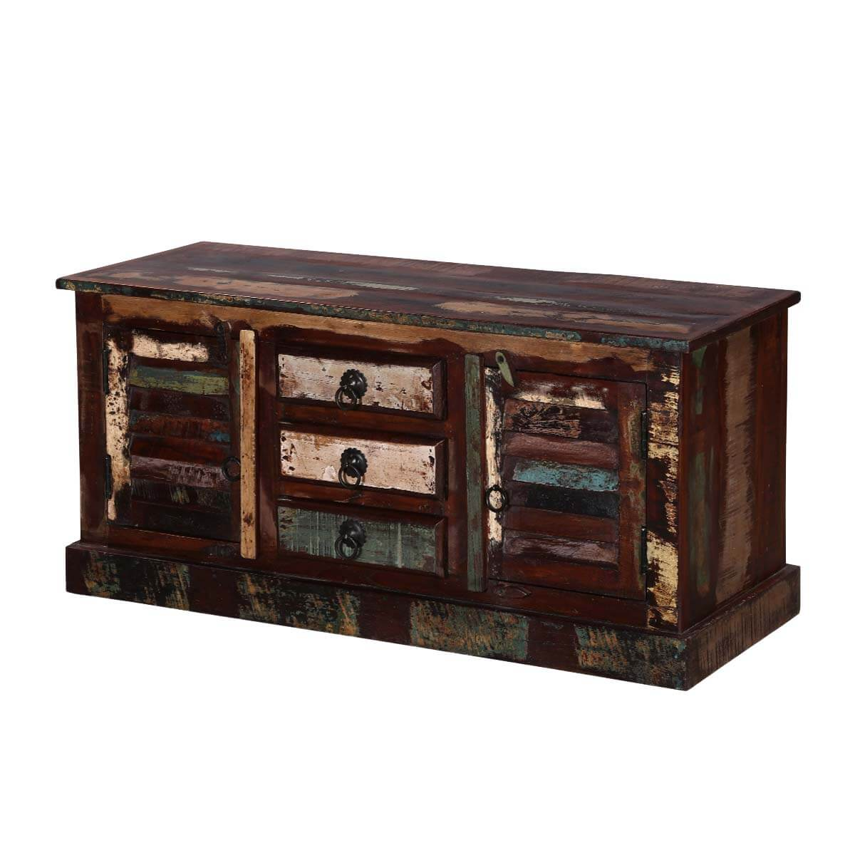 Turquoise Trail Rustic 3-Drawer 2-Door Reclaimed Wood Media Console