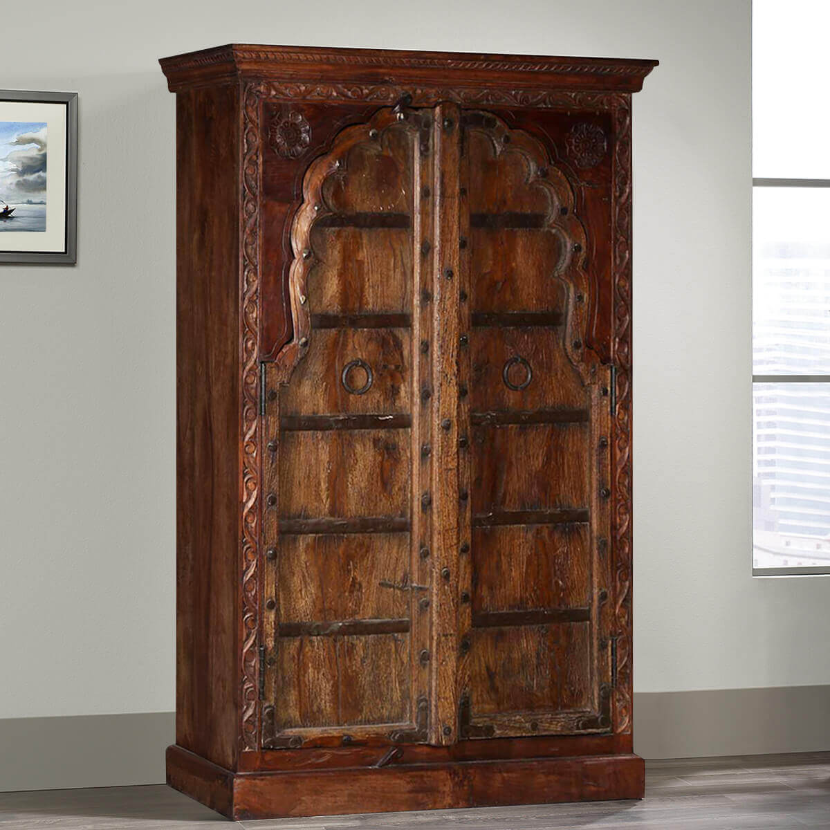 Traditional Rustic Solid Reclaimed And Mango Wood Tall Cabinet Hover To Zoom