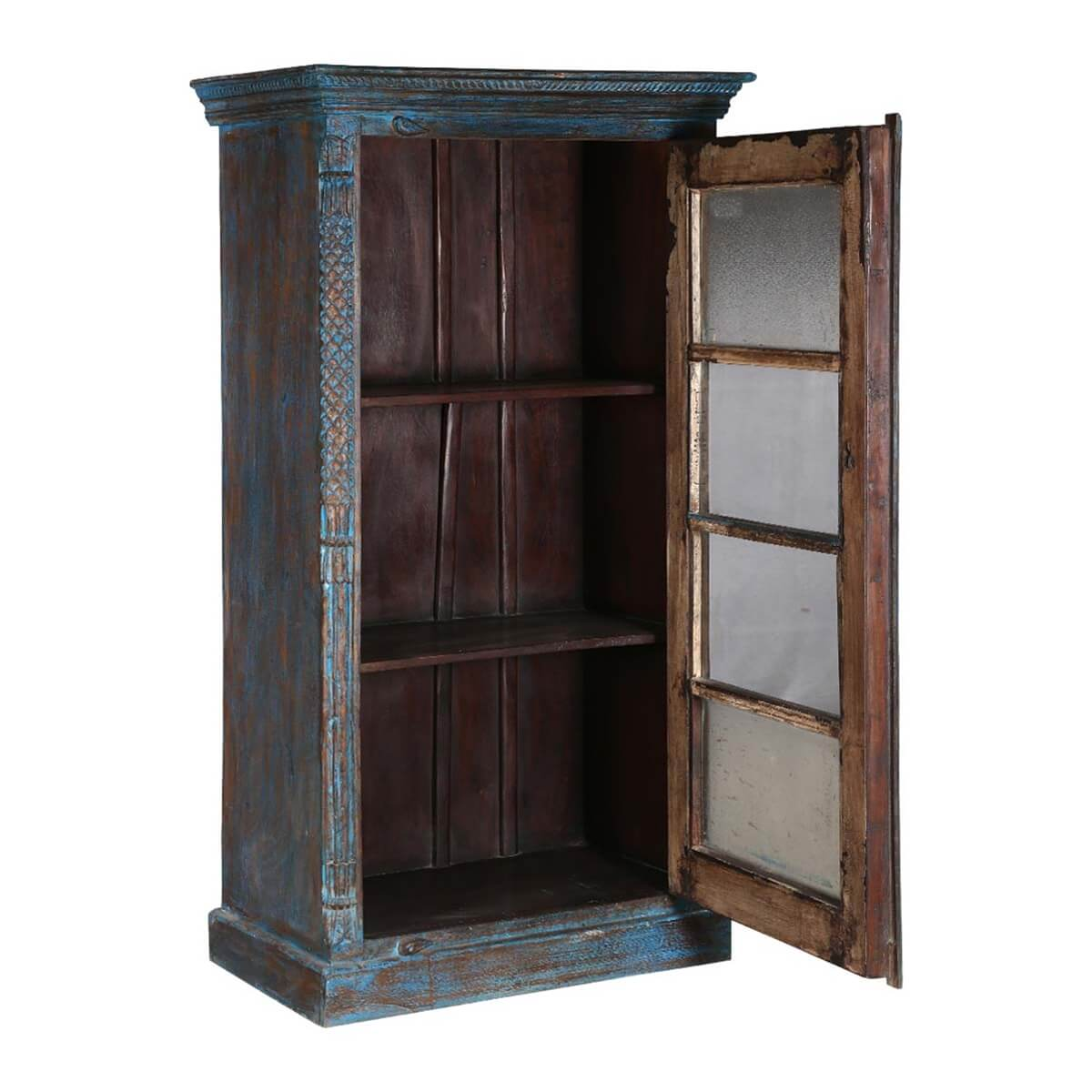 Midnight distressed blue mango wood glass door curio