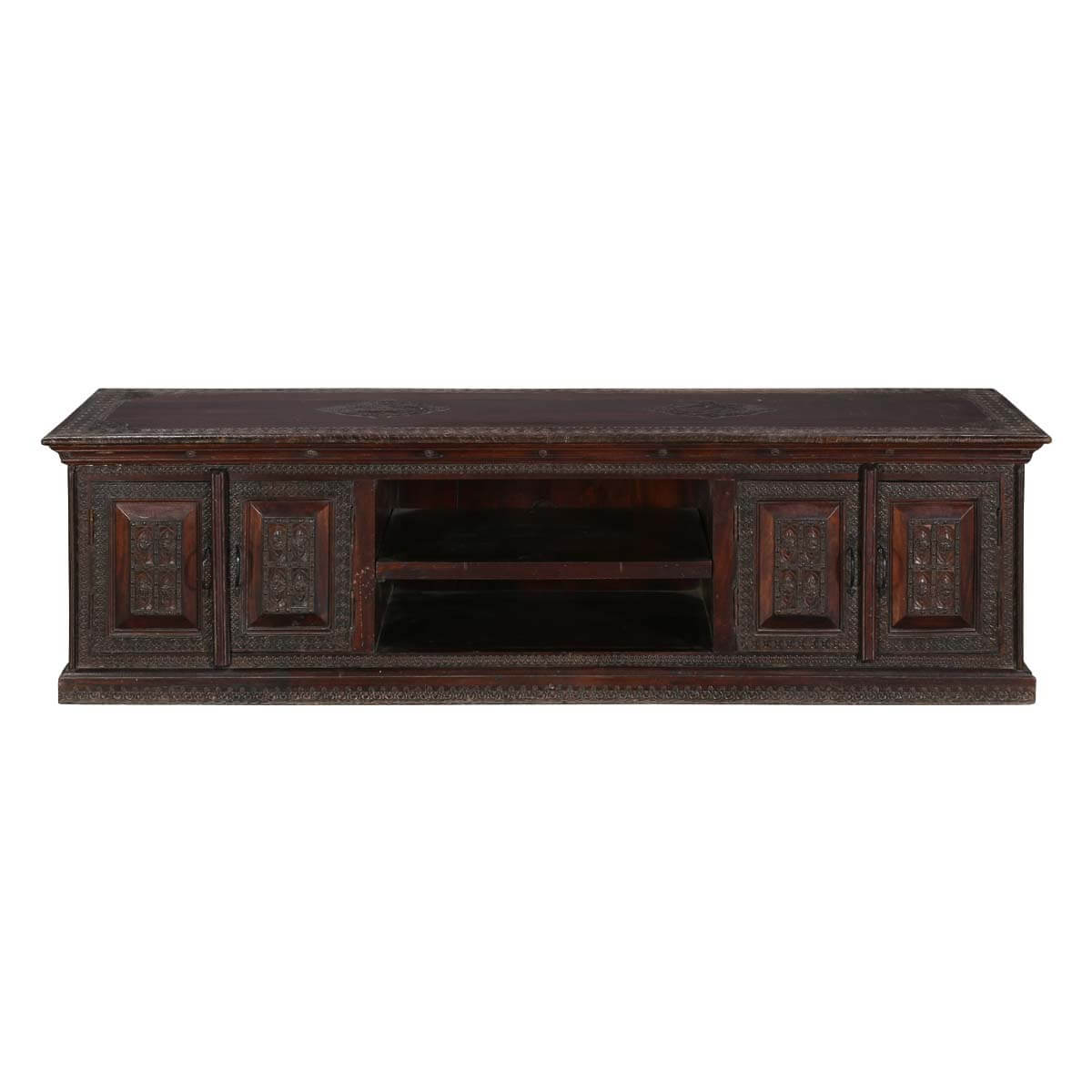 Classic Elizabethan Mango Wood 71 Rustic Tv Stand Media