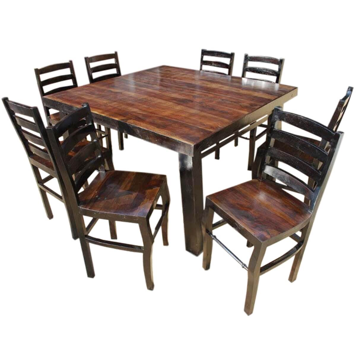 Counter Height Dining Table For 8: Rustic Counter Height Kansas City Square Dining Set For 8