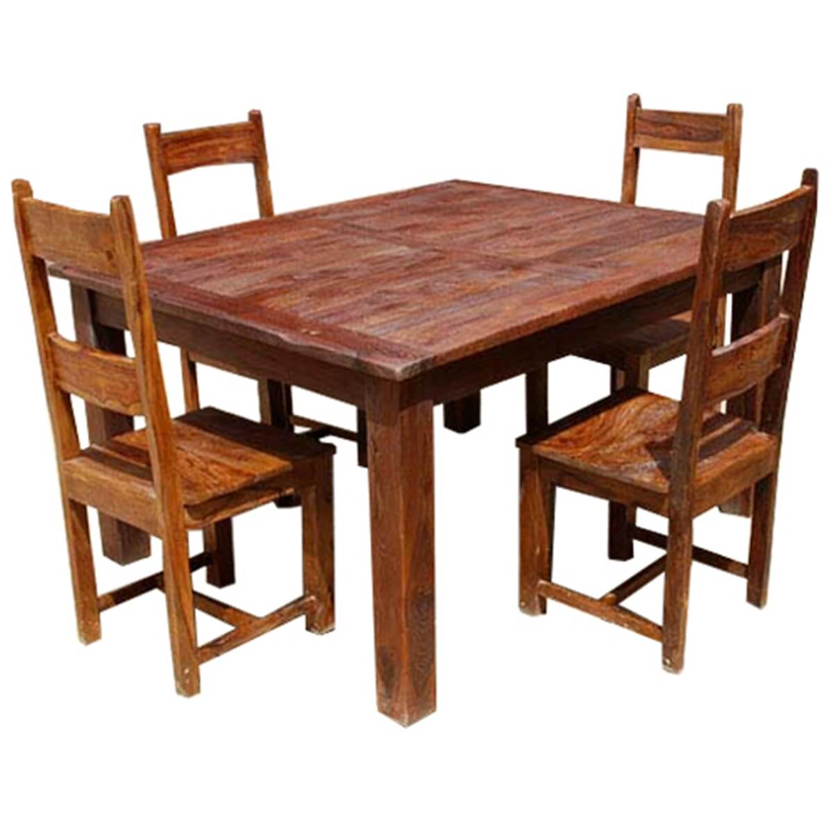 Rustic solid wood appalachian dining room table chair set for Solid wood dining table sets