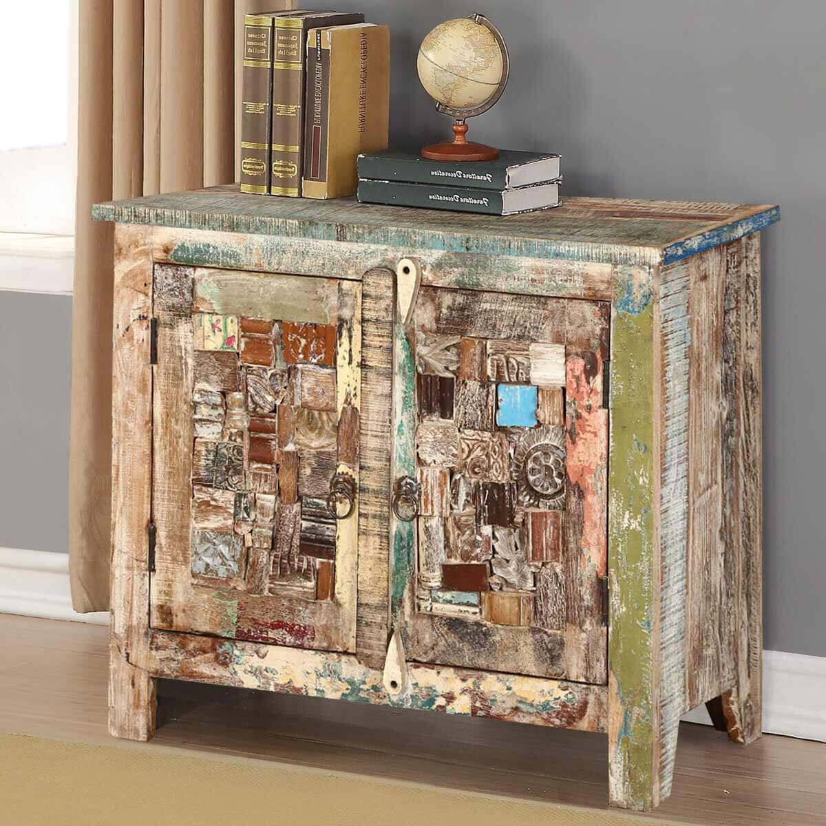 sc 1 st  Sierra Living Concepts & Amersfoort Mosaic Inlay 2 Door Rustic Reclaimed Wood Storage Cabinet