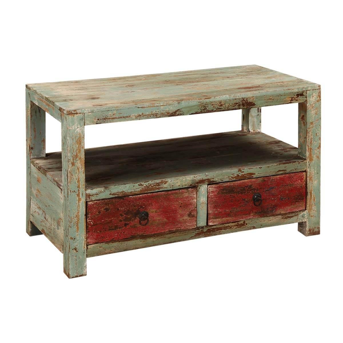 Appalachian Rustic Mango Wood 2 Tier Coffee Table W Drawers