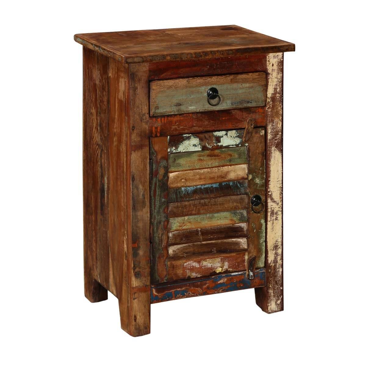 Cheap Wood Flooring Atlanta: Atlanta Chic Reclaimed Solid Wood 1 Drawer Nightstand