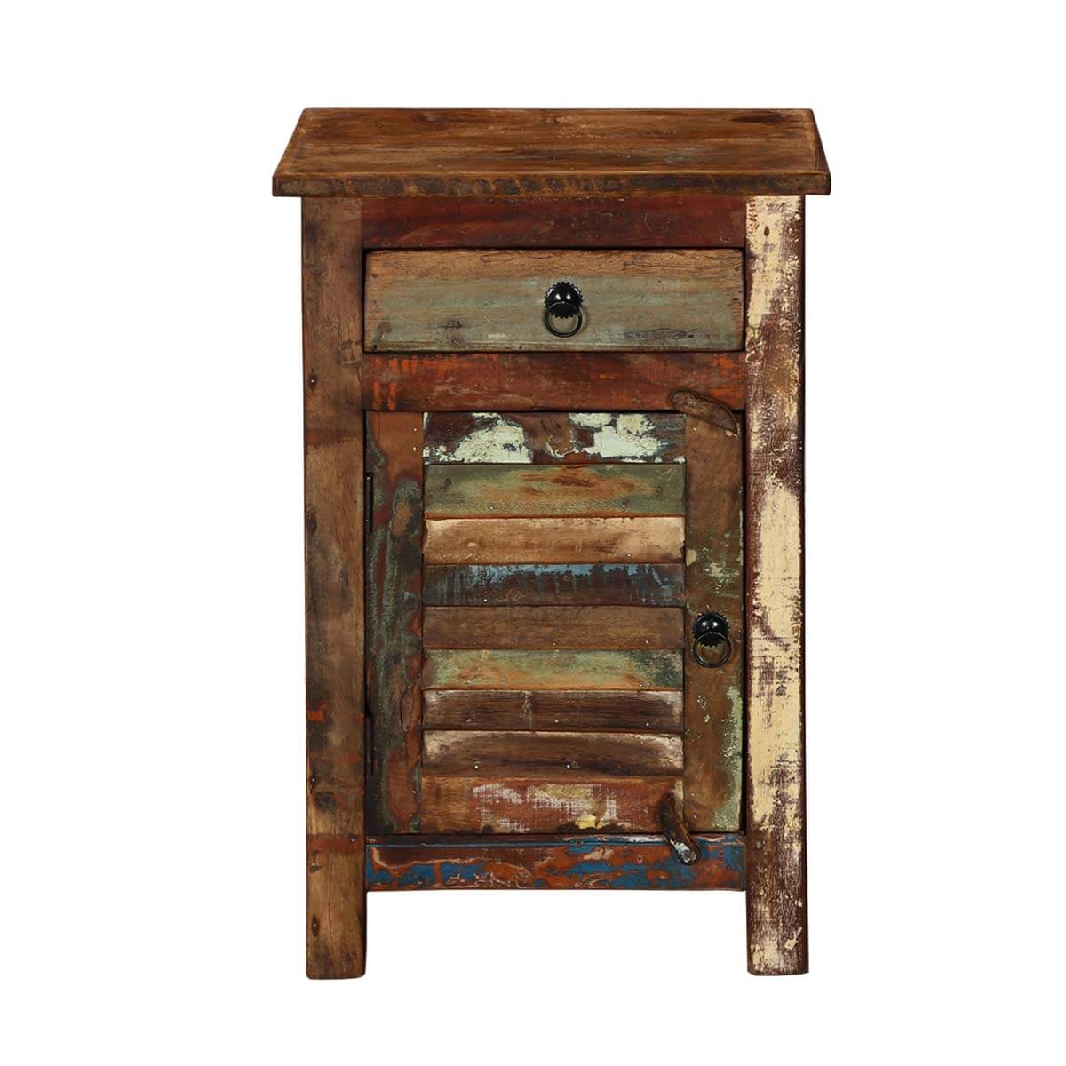 Atlanta chic reclaimed solid wood 1 drawer nightstand for Wood nightstand with drawers