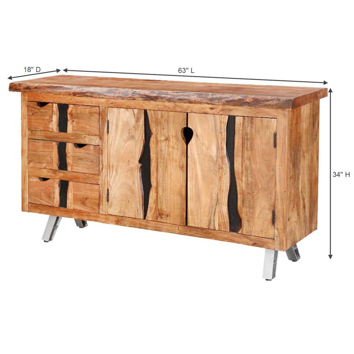 Saturn acacia wood live edge drawer sideboard cabinet