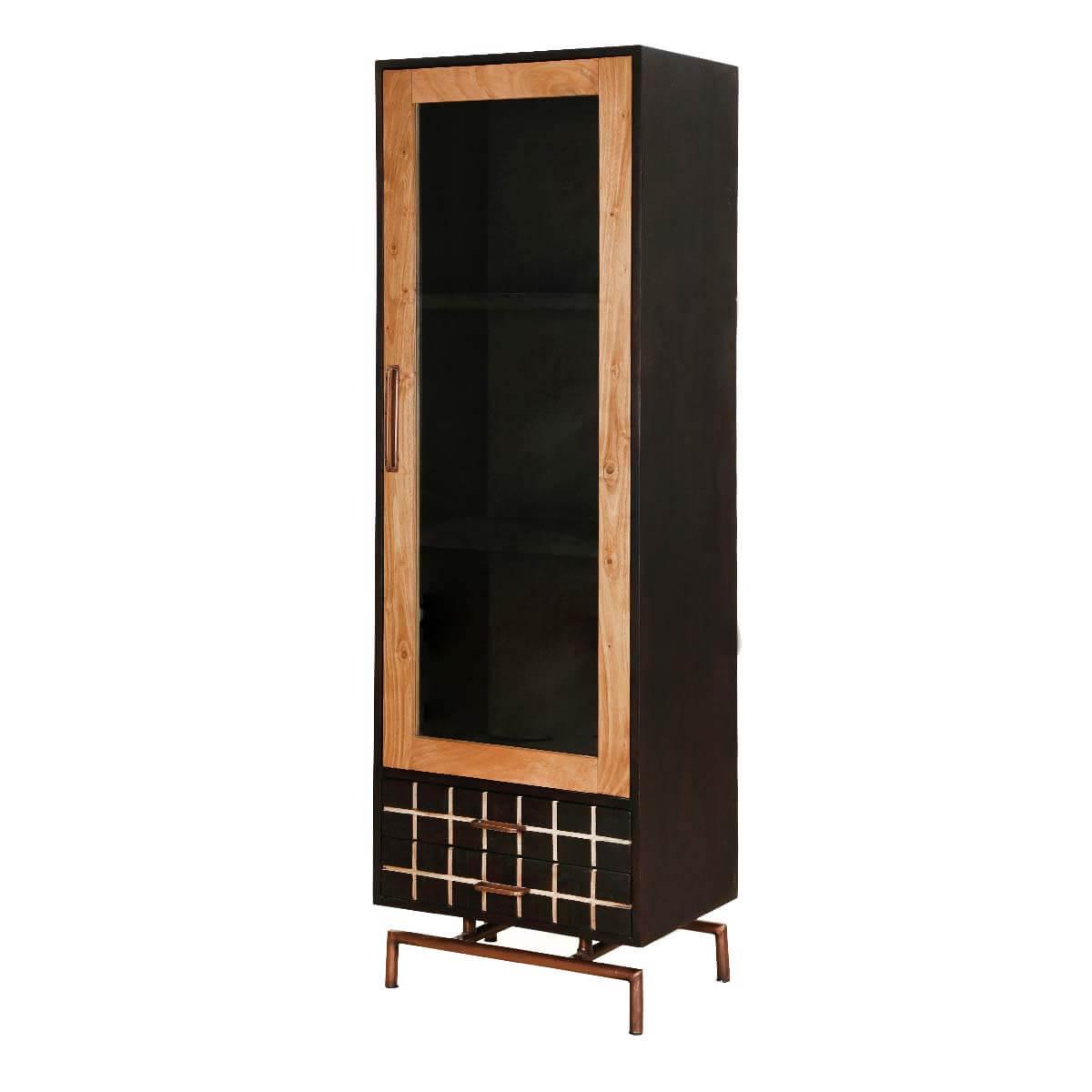 Barbara Acacia Wood 2 Drawer Single Glass Door Display Cabinet