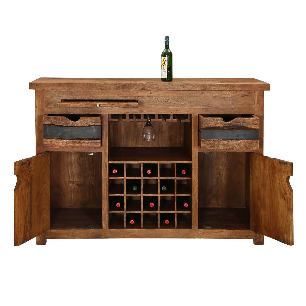 Wood Wine Bar ~ Modern pioneer acacia wood wine bar entertainment cabinet