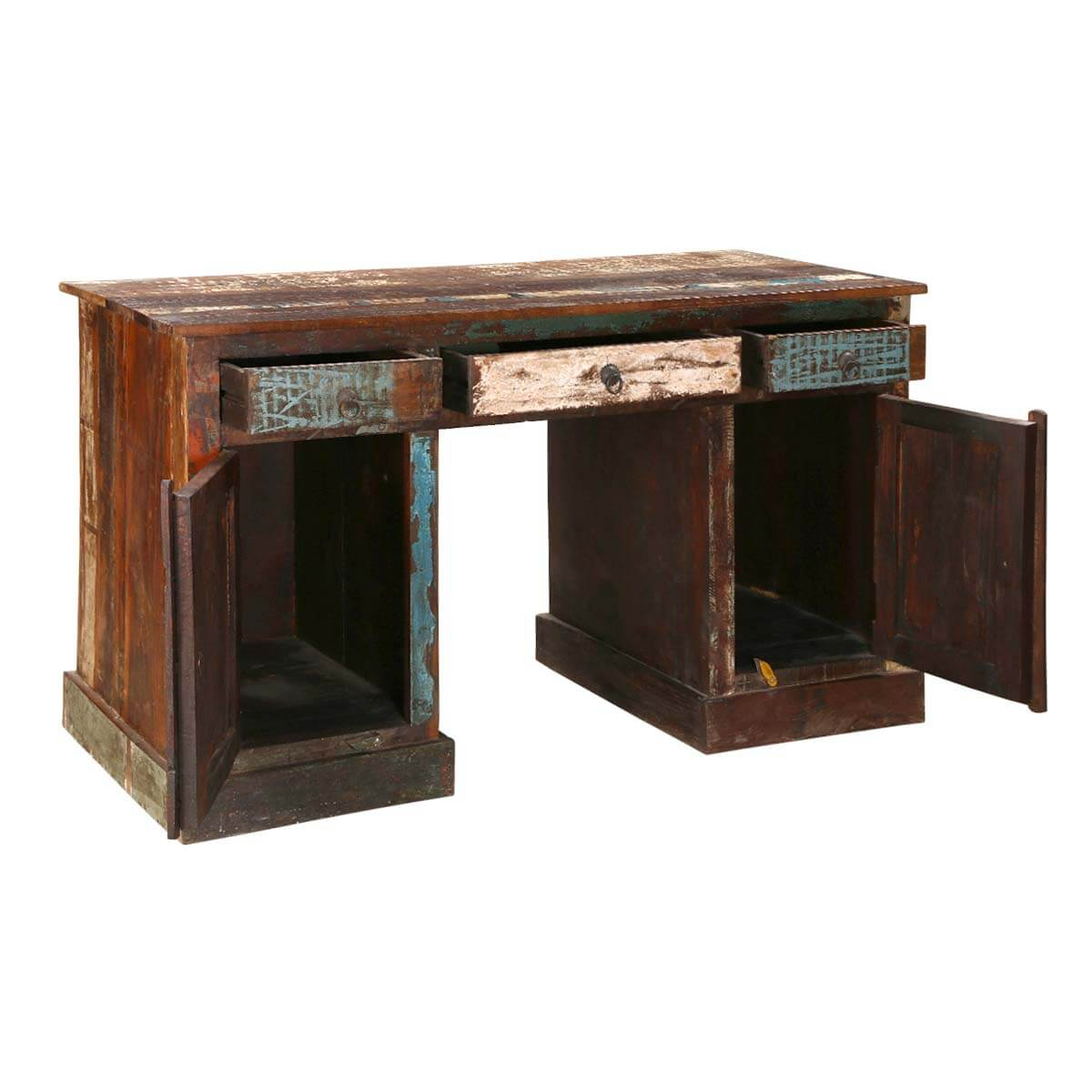 """Reclaimed Wood Rustic Home Office: Venus Reclaimed Wood 54"""" Accent Desk With Shelf In Rustic"""