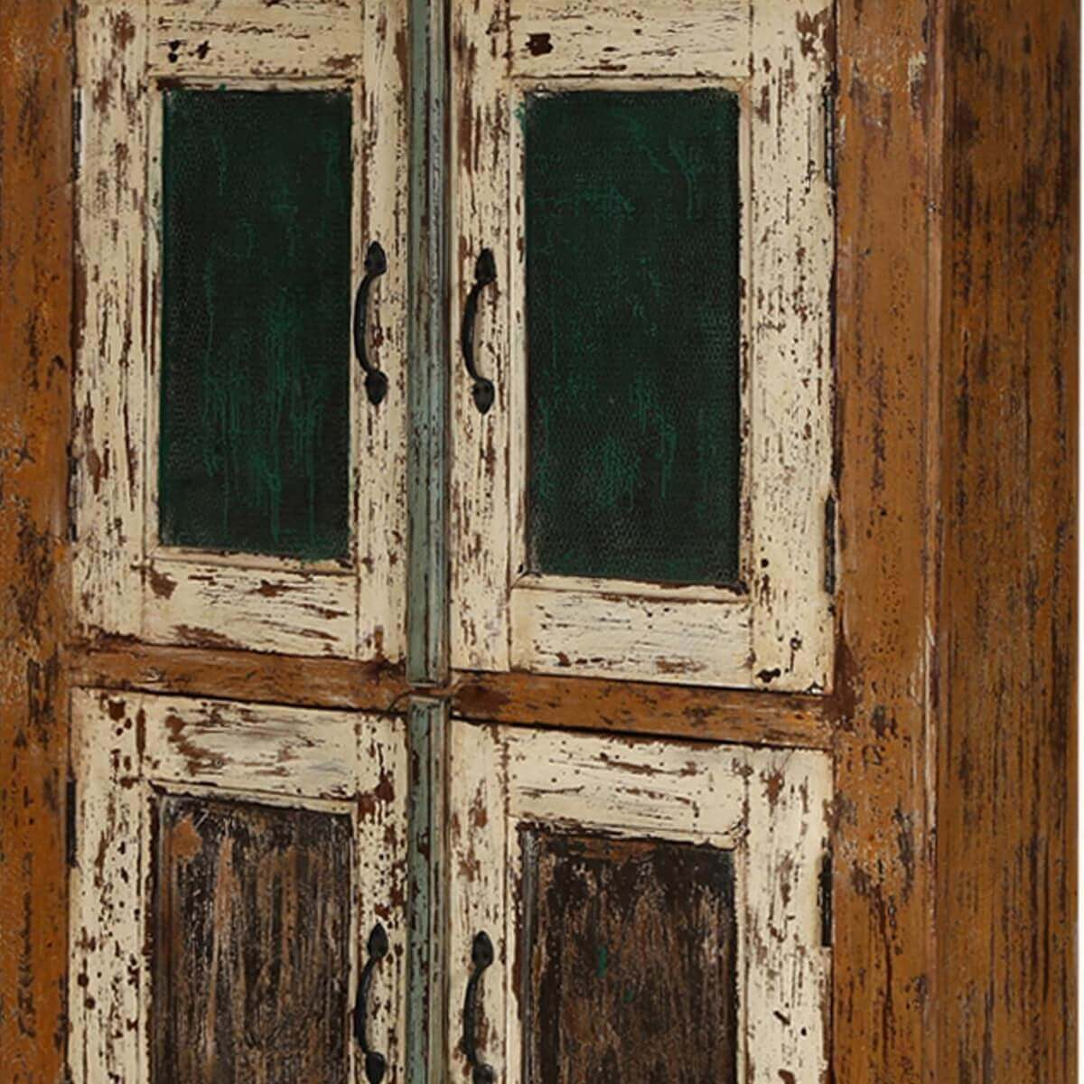 Distressed Kitchen Cabinet Doors: Lena Distressed Reclaimed Wood Handcrafted Double Door