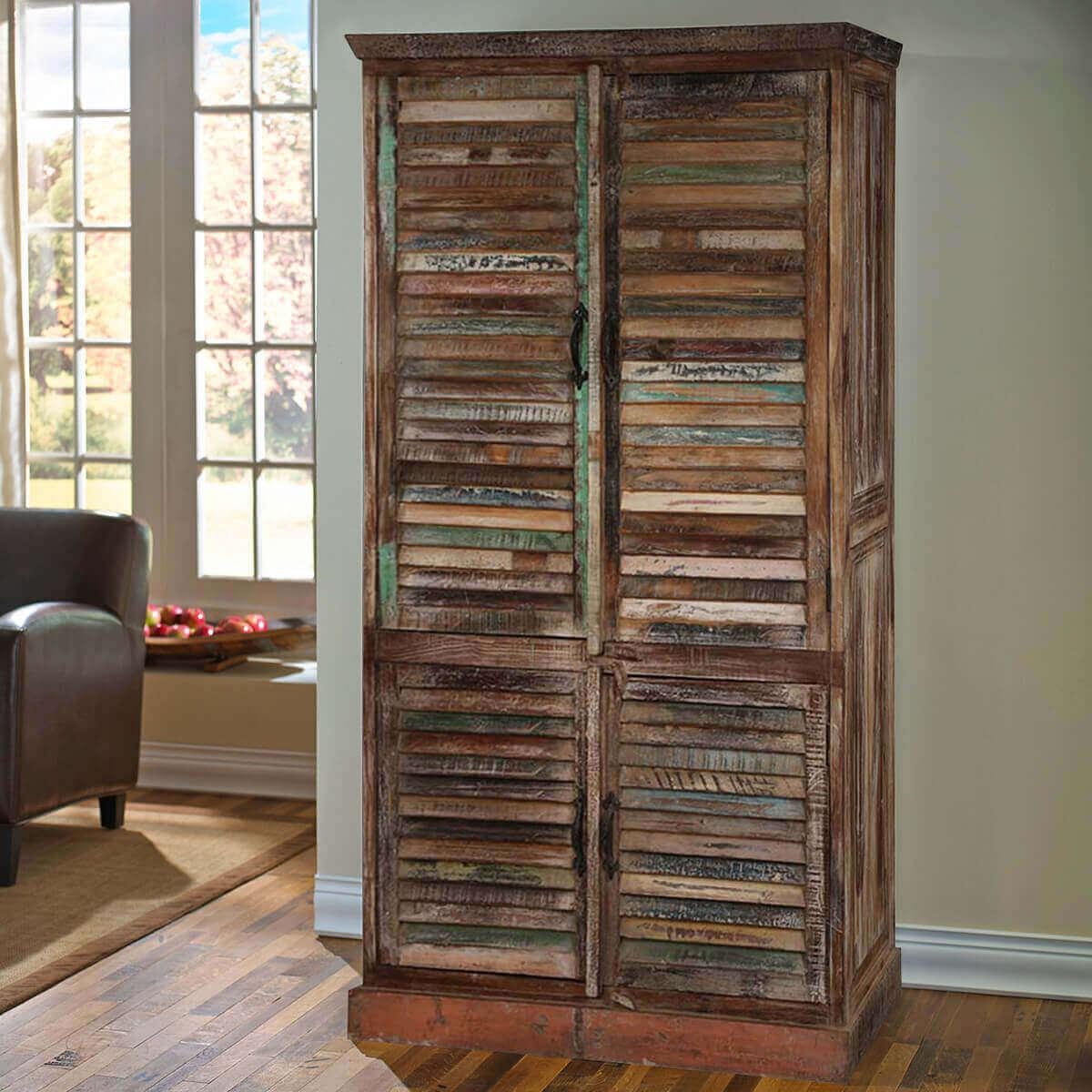 buckley 5 shelf shutter door solid reclaimed wood tall storage cabinet. Black Bedroom Furniture Sets. Home Design Ideas