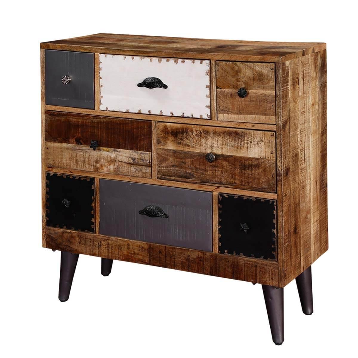 Rustic Mango Wood Accent Industrial Dresser Chest