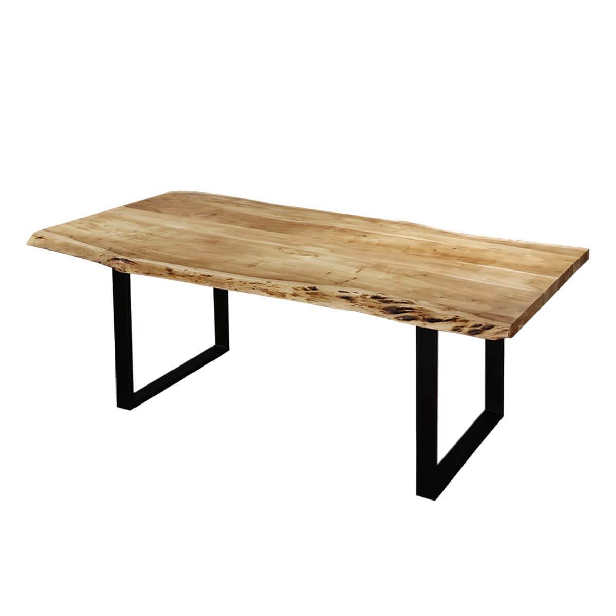 contemporary acacia wood iron live edge dining table. Black Bedroom Furniture Sets. Home Design Ideas