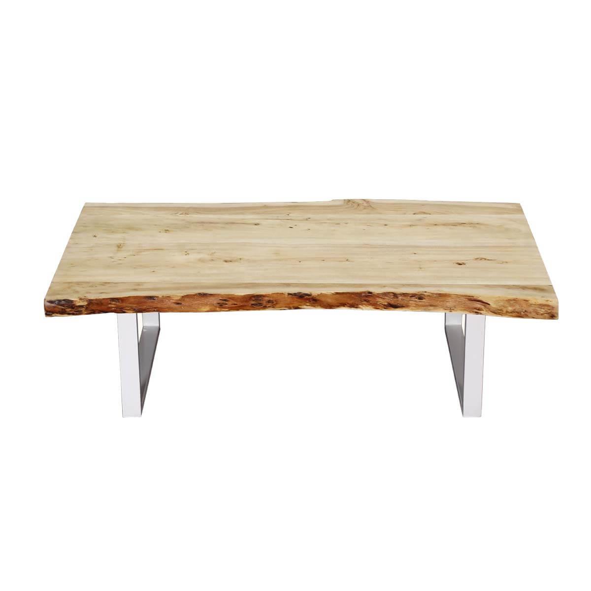 Natural 51 Acacia Wood Polished Iron Live Edge Coffee Table