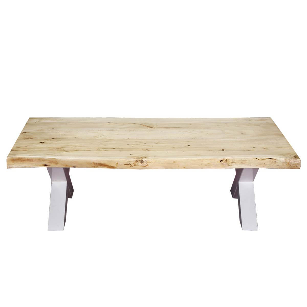 Picnic Style Acacia Wood Iron 51 Live Edge Coffee Table