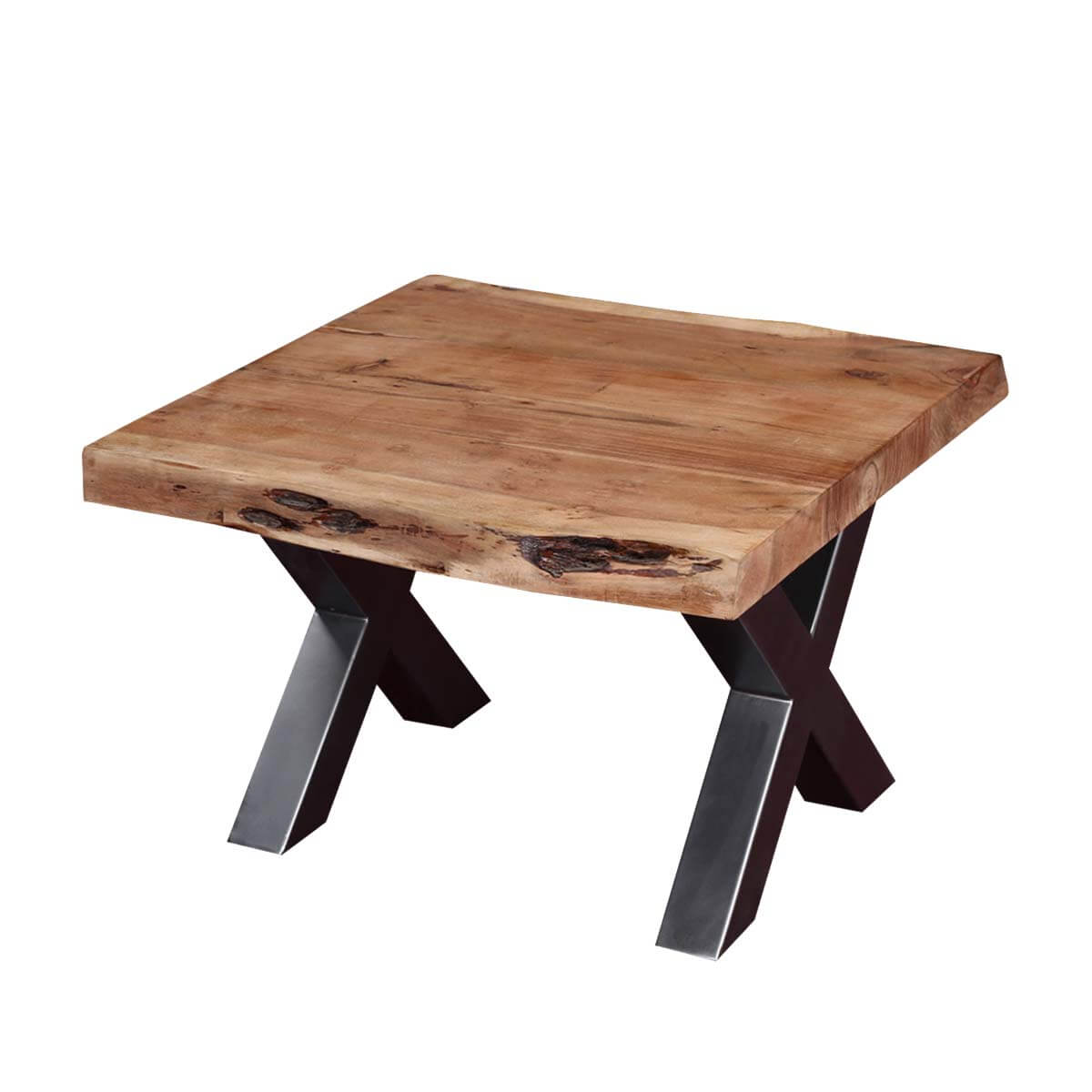 Picnic Style Acacia Wood U0026 Iron 23u201d Square Live Edge End Table