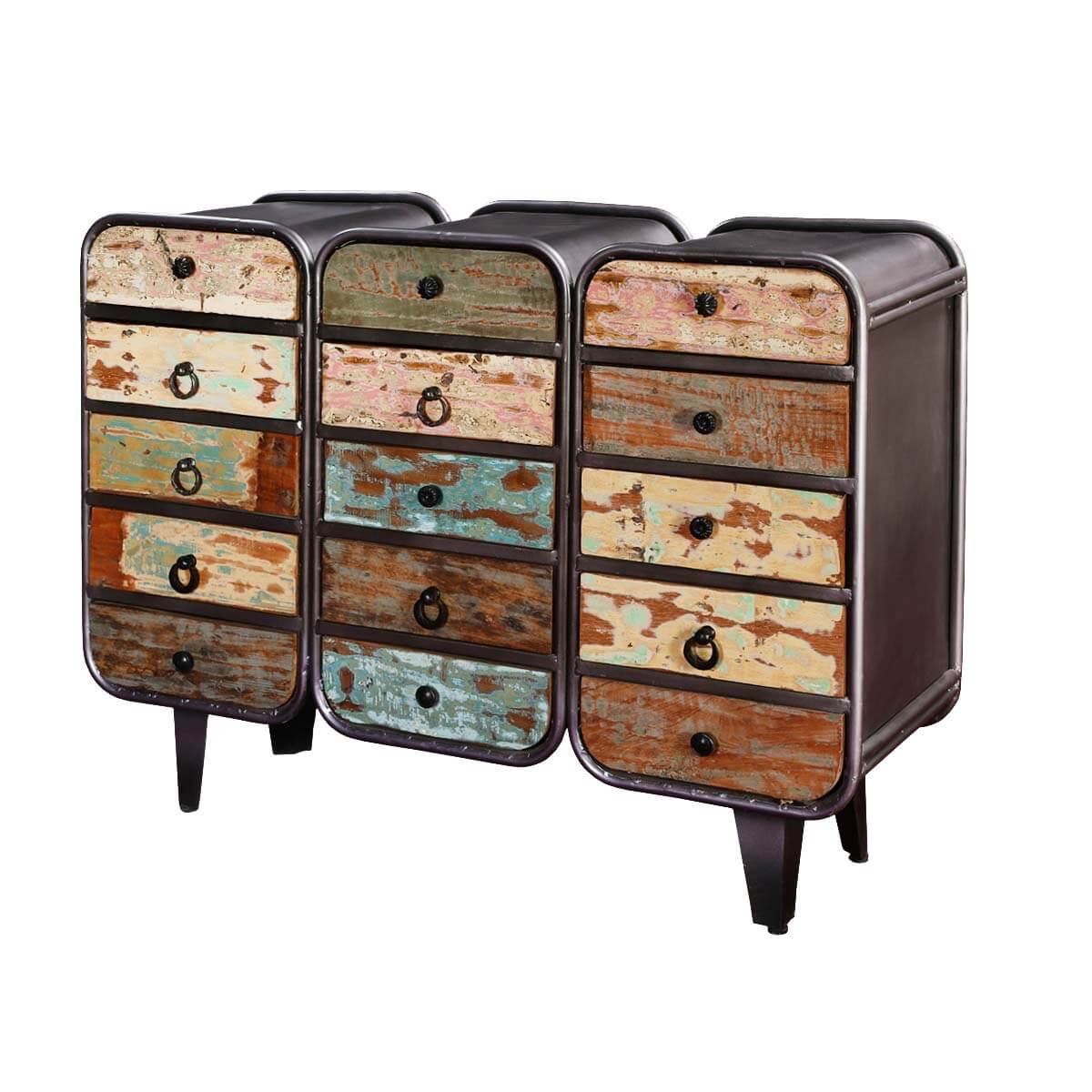 Street Rustic Mango Wood 12 Drawer Industrial Dresser