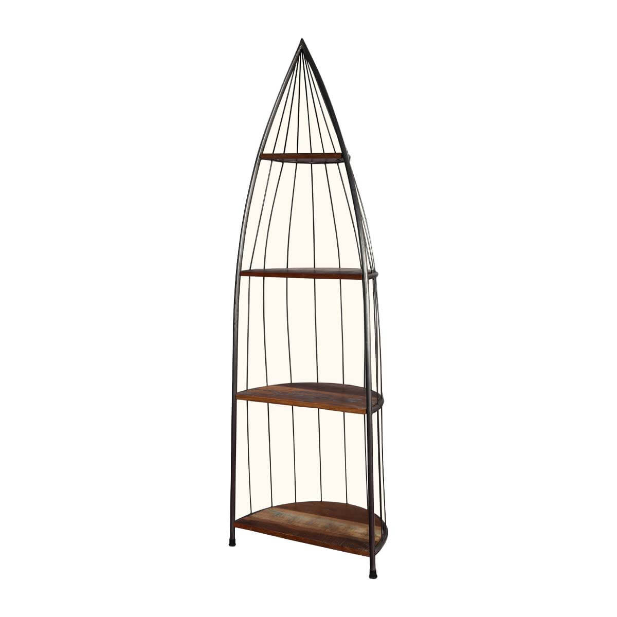 "New York Chic 4 Shelf Iron and Wood 73"" Tall Accent Display Rack"