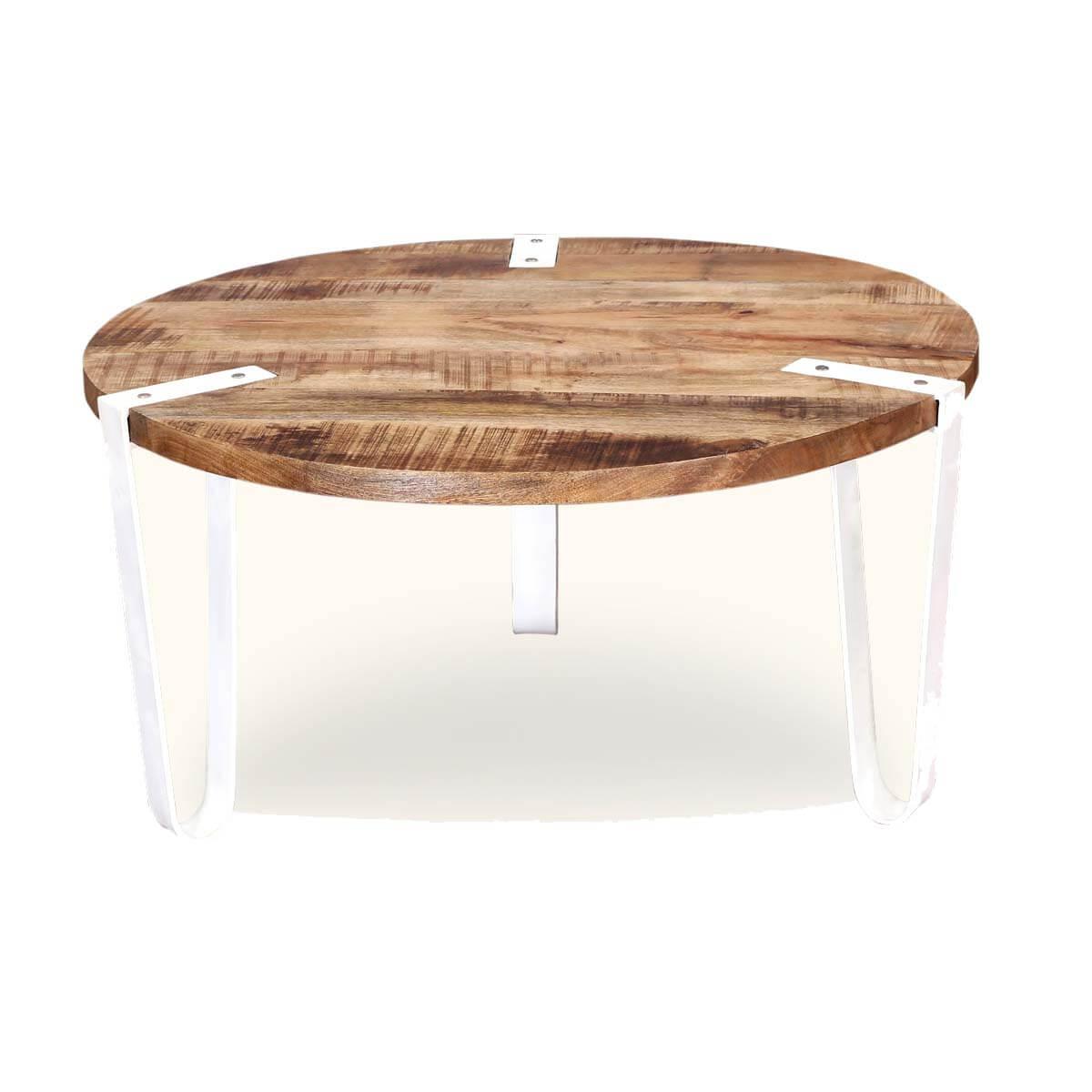 victoria mango wood iron legs round coffee table. Black Bedroom Furniture Sets. Home Design Ideas