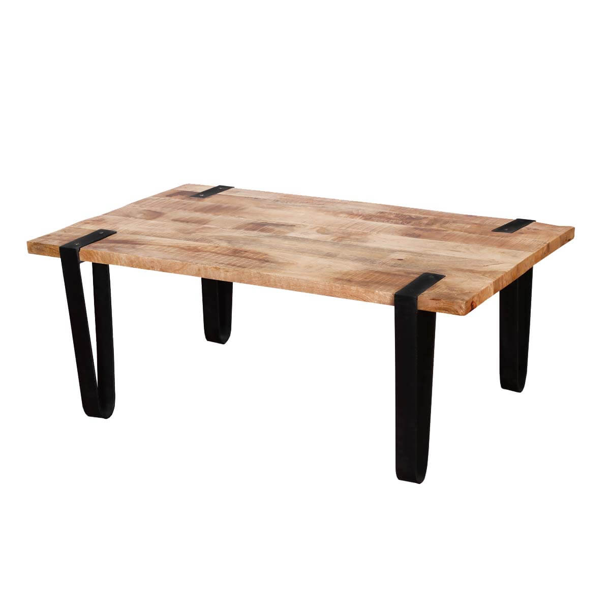 Montana stylish rectangular solid wood and iron accent for Iron and wood side table