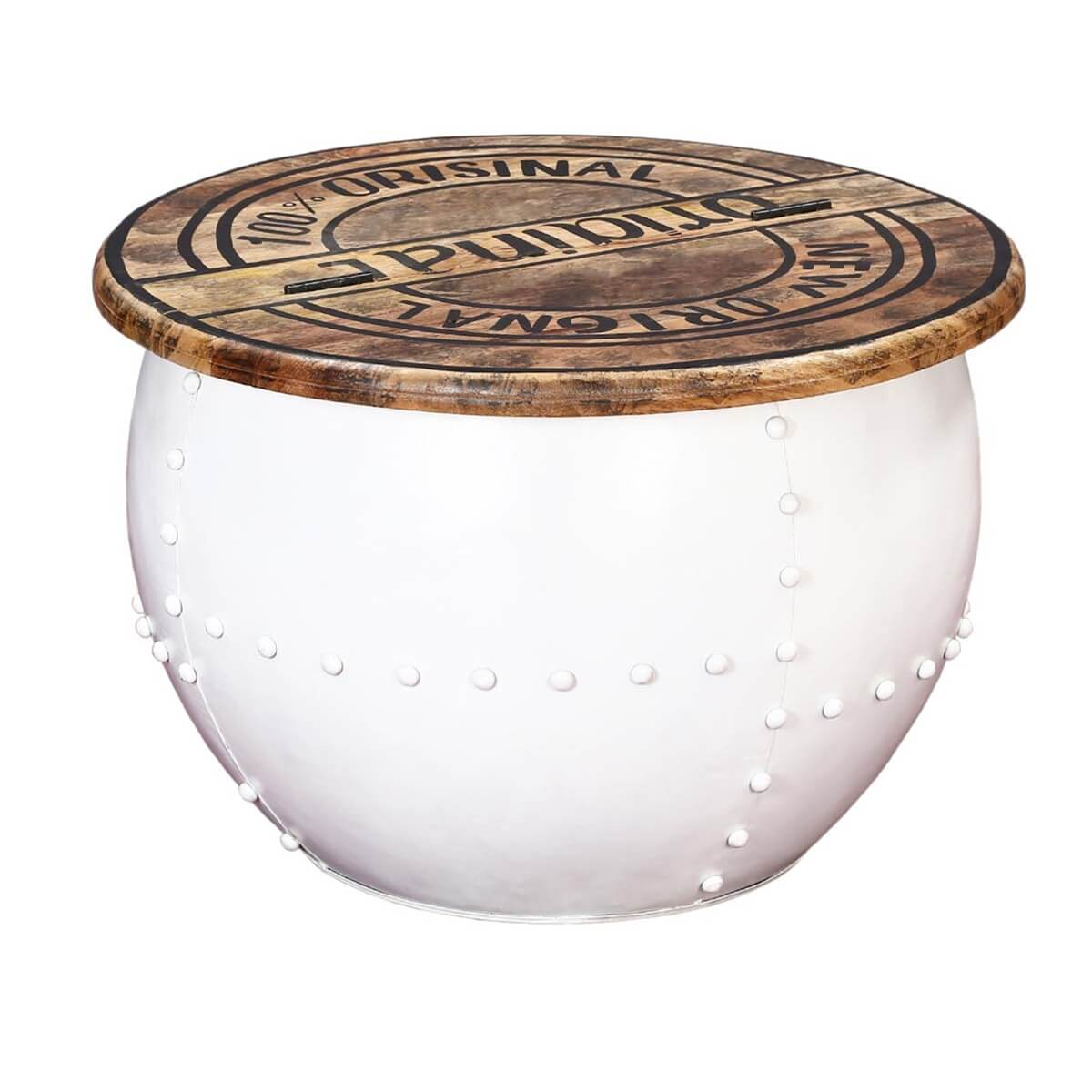 Colorado Contemporary White Round Accent Drum Coffee Table