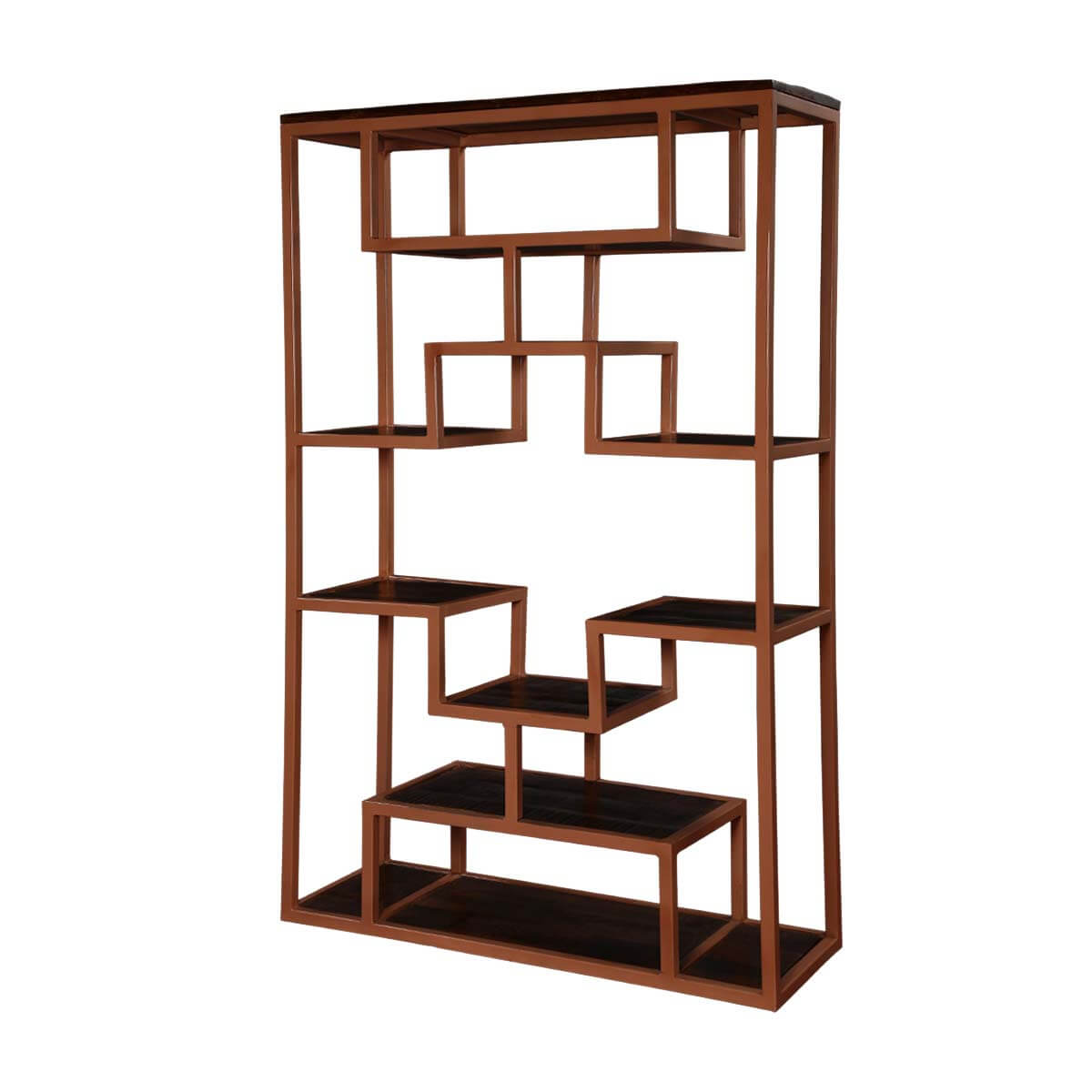 "Asian Reflection Mango Wood & Iron 63"" Open Display Wall Unit"
