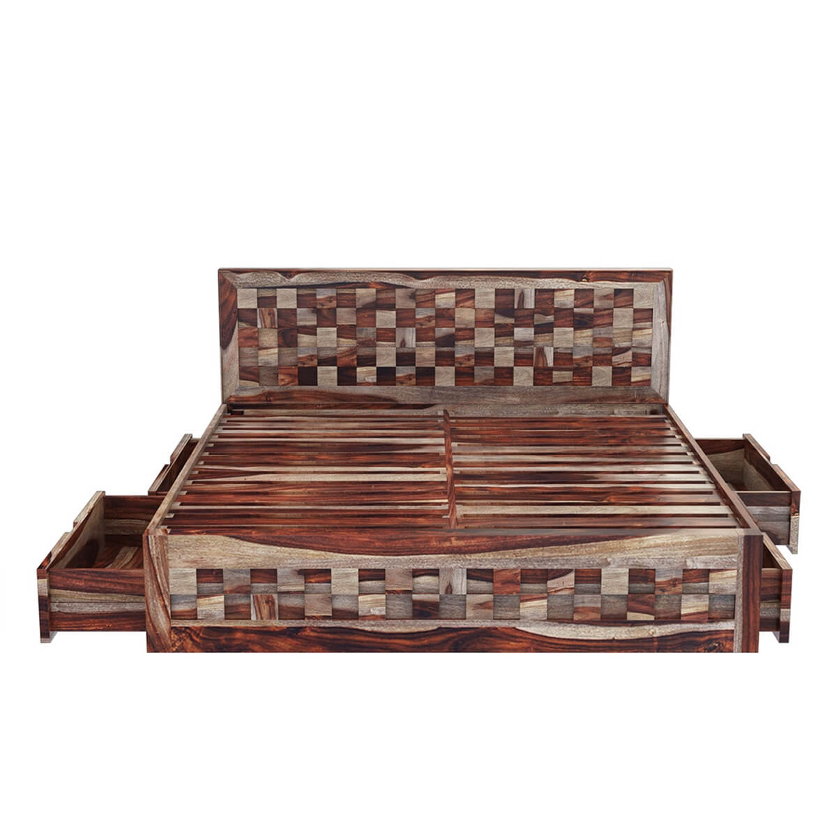 Checkered Solid Wood Queen Size Captains Platform Bed