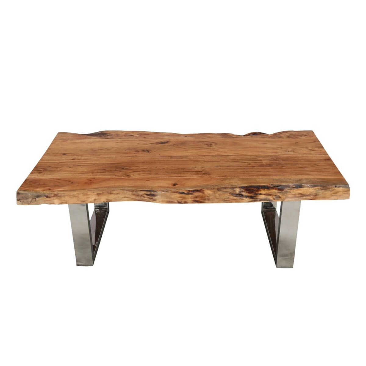 "Natural Edge Acacia Wood & Steel 55"" Long Coffee Table"