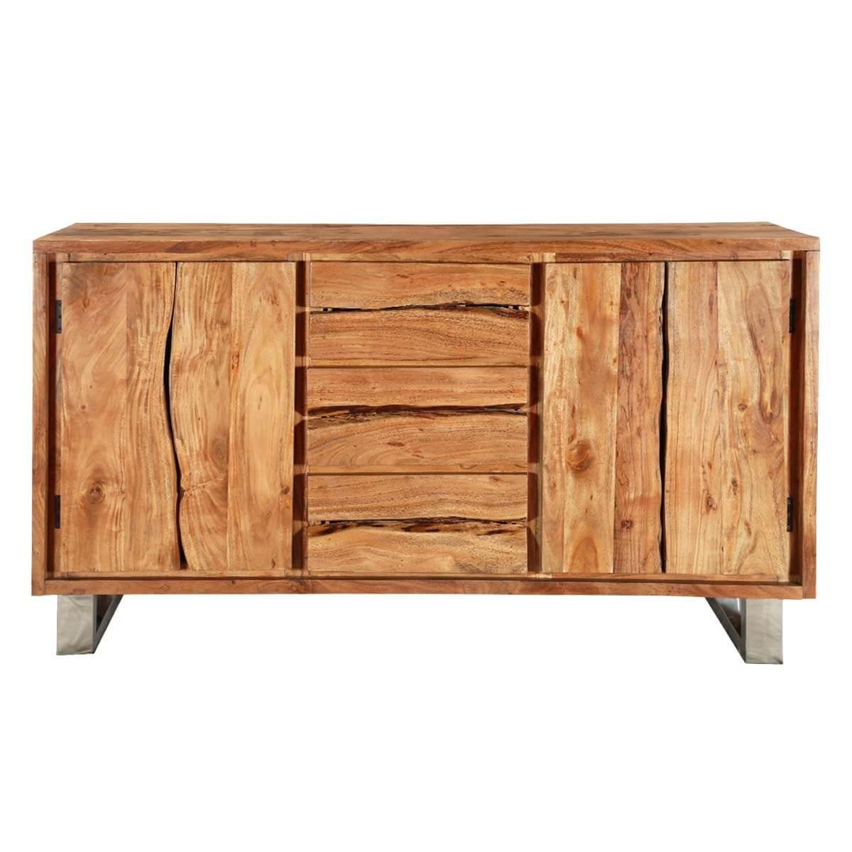 Modern pioneer acacia wood live edge drawer sideboard