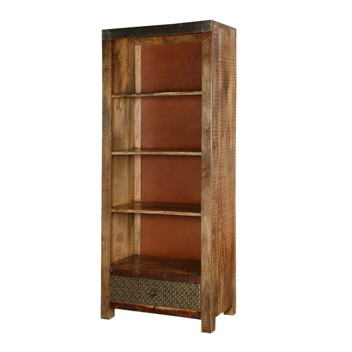 Modern Pioneer Reclaimed Wood Standing 4 Shelf Bookcase W