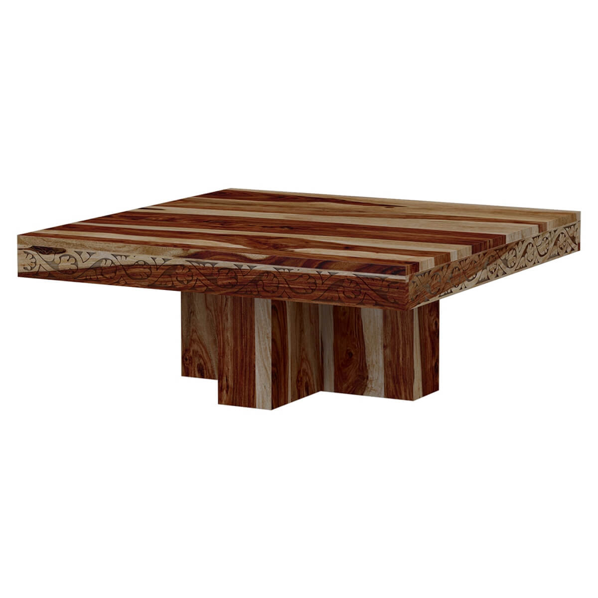 Dallas midnight 46quot solid wood square pedestal rustic for 46 inch square coffee table