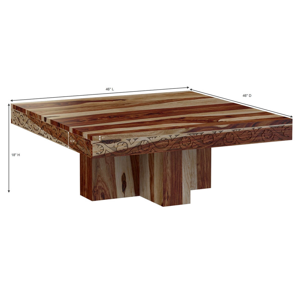 Dallas midnight 46 solid wood square pedestal rustic coffee table dallas midnight 46 solid wood square pedestal rustic coffee table geotapseo Gallery
