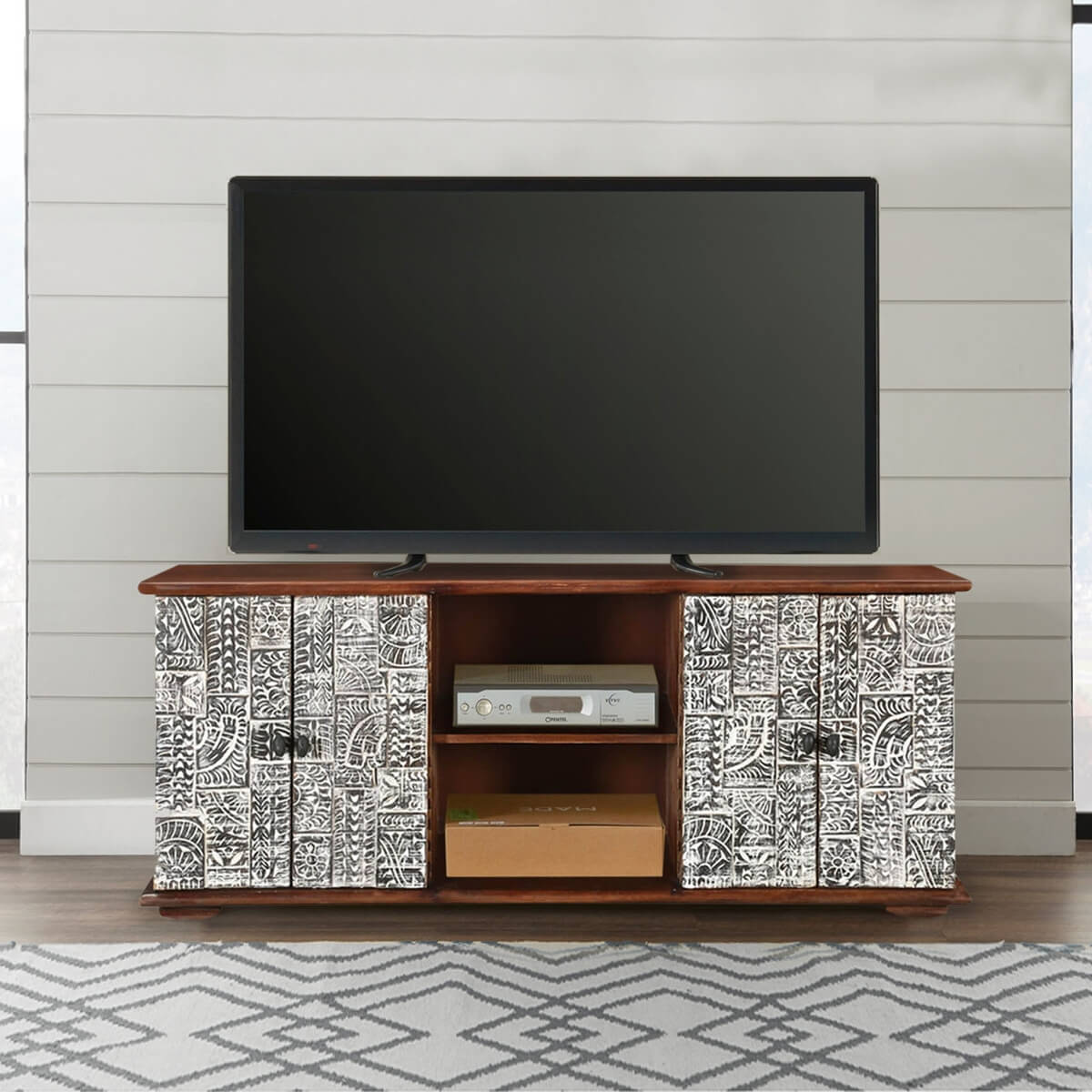 Wood Tv Stands Product ~ Riviera rustic mango wood tv stand with cabinet shelves