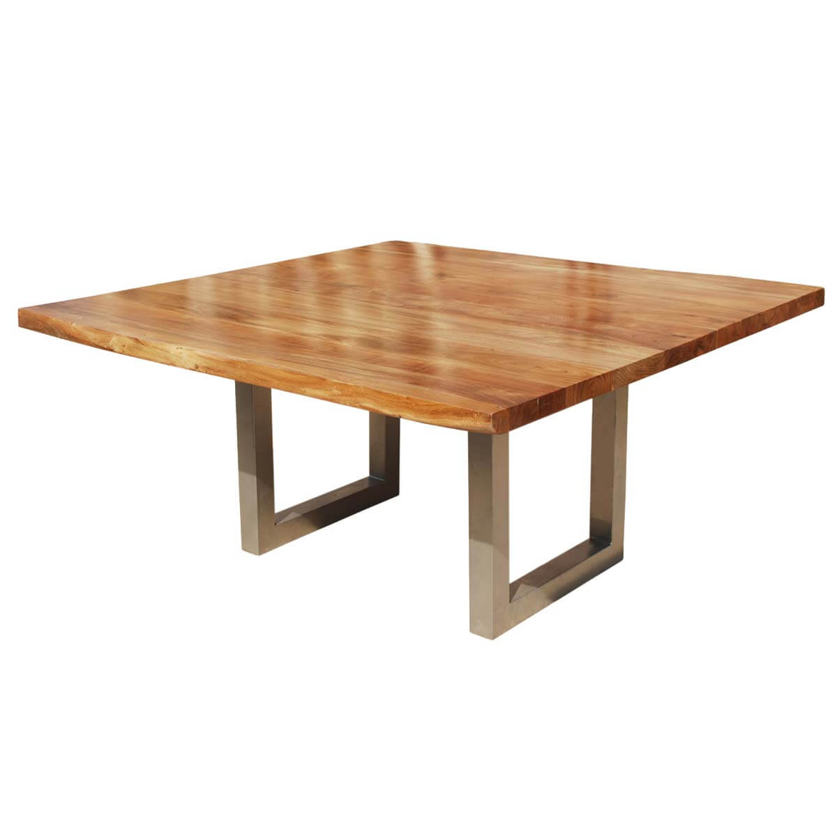 moab square acacia wood live edge rustic dining table - Square Wood Dining Table