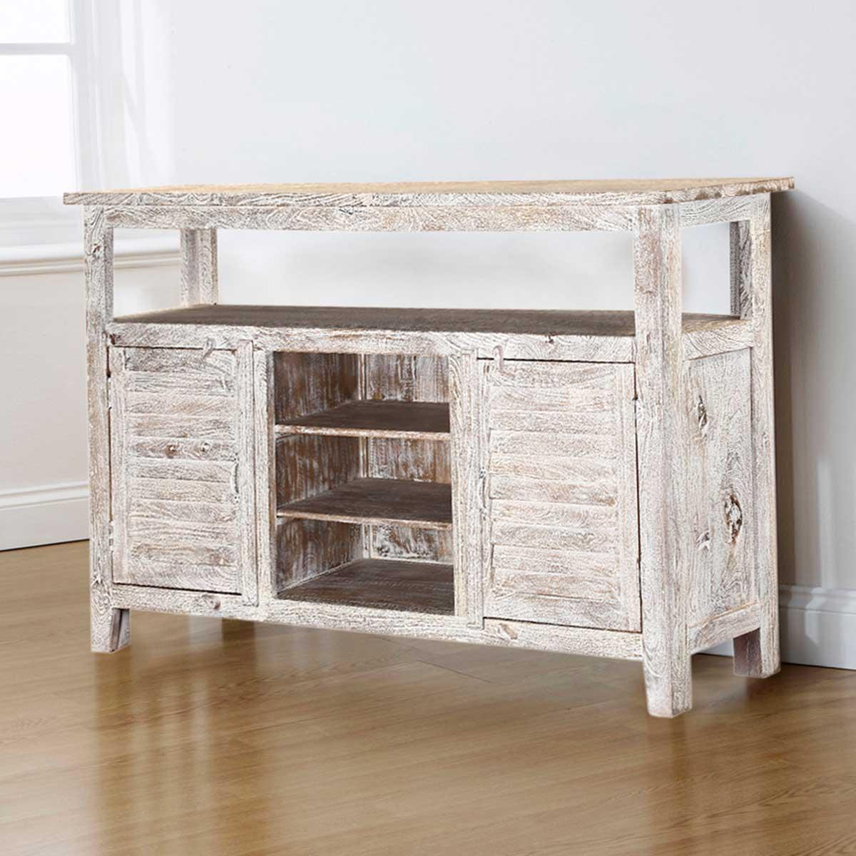 Mifflin Distressed Mango Wood Freestanding Accent Buffet Cabinet