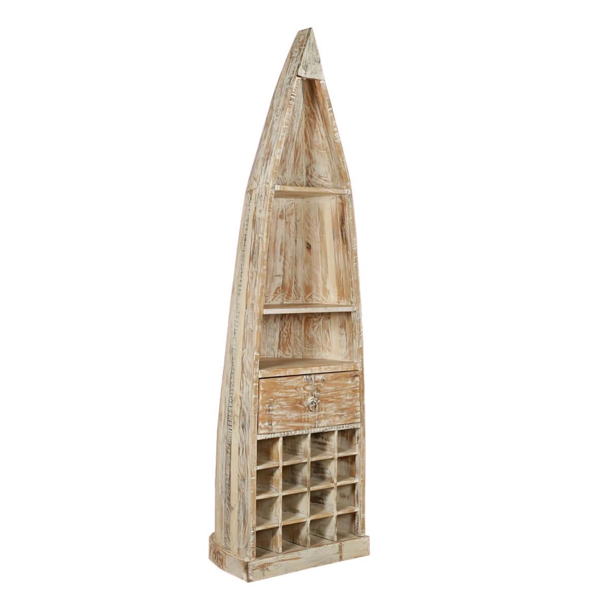 Kitchen Cabinets Honolulu: Honolulu Boat Shaped Rustic Mango Wood Tall Wine Rack